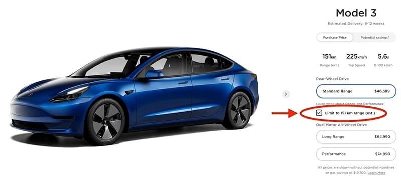 Tesla Canada 150 km autonomie